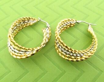 large & heavy tri-color stainless steel hoop earings. 1 3/4 inch round