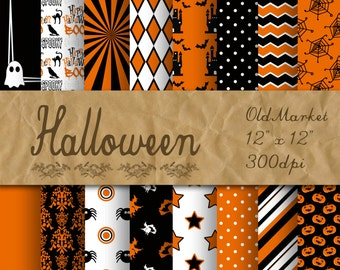 Halloween Digital Paper - Orange and Black Halloween Backgrounds - 16 Designs - 12in x 12in - Commercial Use - INSTANT DOWNLOAD