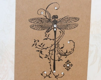 Rustic Note Card, Dragonfly Note Card Set, Kraft Dragonfly Card, Set of 5 cards