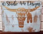SALE Instant Digital download Fortune Favors the Brave SVG JPEG cutting file, for Silhouette, Cricut, Vinyl Plotters Ox Bull Skull boho chic