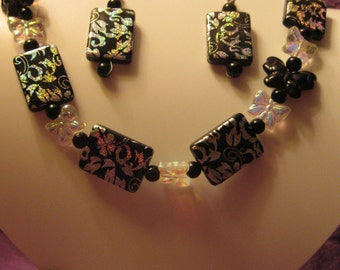 BLACK and SILVER Foil Beads with BUTTERFLIES