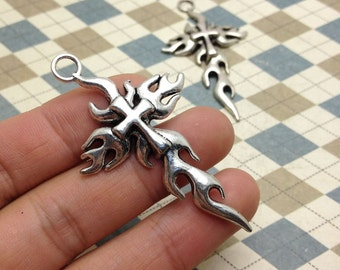 10PCS Antique Silver Burning Cross Pendant Charm 35mmx62mm