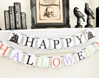 Happy Halloween Banner, Trick or Treat, Halloween Party, Halloween Garland, Trick or Treat Sign