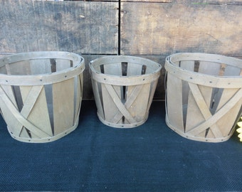 Set of 3 Wood Baskets ~ DIY Lampshade Pendant Light Lamp Project ~ Crafts