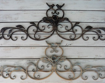 Metal Iron SWIRL With Bird Design Wall Art ~ Gold & Teal or Oil Rubbed  Bronze