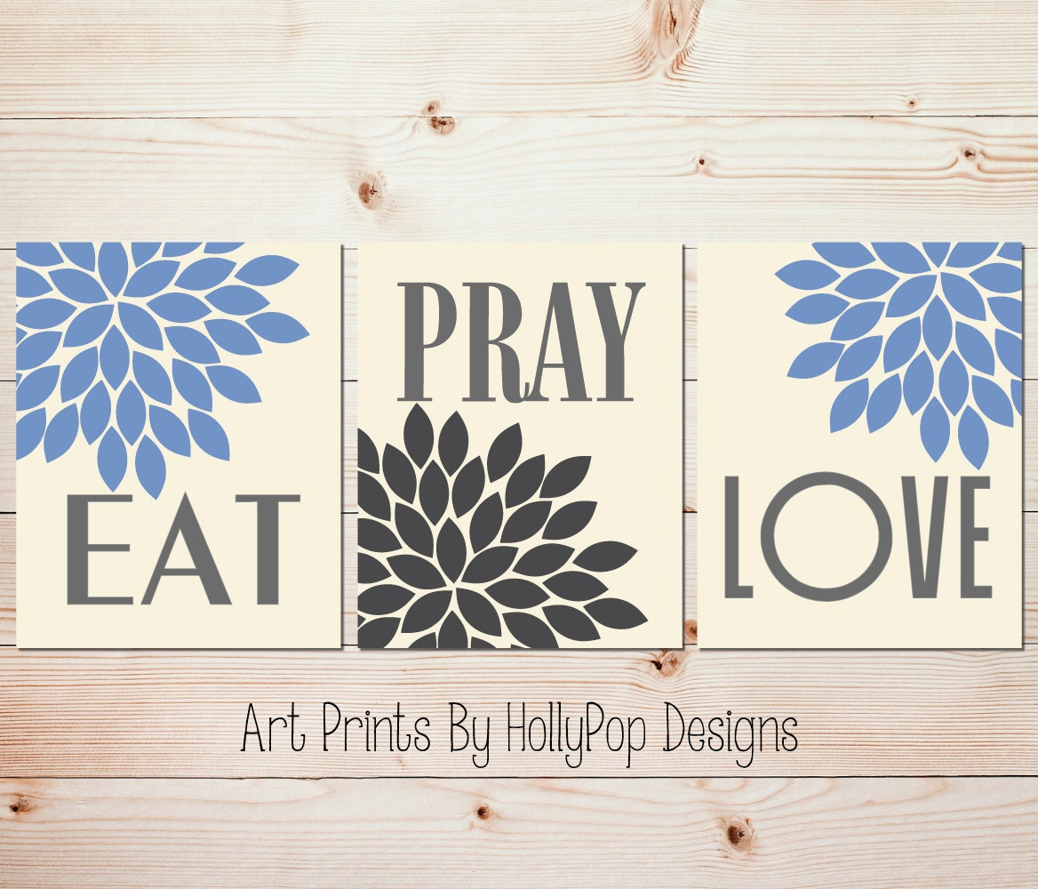 Wall Decor For Eat In Kitchen : Kitchen wall decor eat pray love art prints blue gray