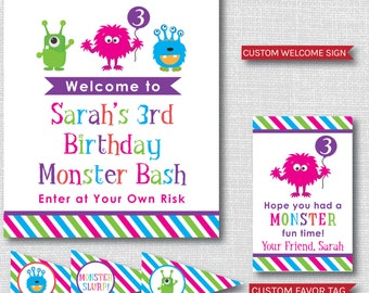 Girl Monster Birthday Party Package - Monster Birthday Printable Party Set - DIGITAL DESIGN