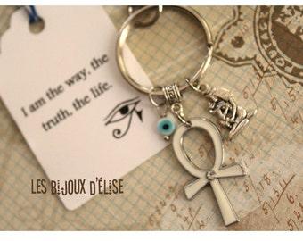 Sale -Personalized Egyptian Cross Keychain Ankh Bag dangle Purse Jewelry