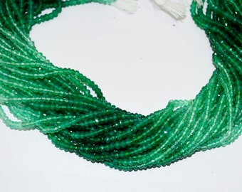 "10 pack line of AAA Quality shaded Green Onyx Rondelle micro Faceted,Size 3.25-3.5 mm,Length - 13.5"" strand,wholesale price natural gemstone"