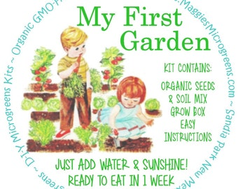 "Children's ""Garden in a Box"" Kit - DIY Microgreens Complete Kit for Kids Indoor Gardening"