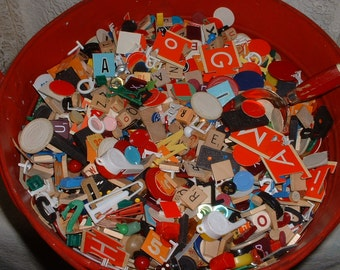 100+ Vintage Game Bits & Pieces Numbers Letters Bingo Checkers Alter Art