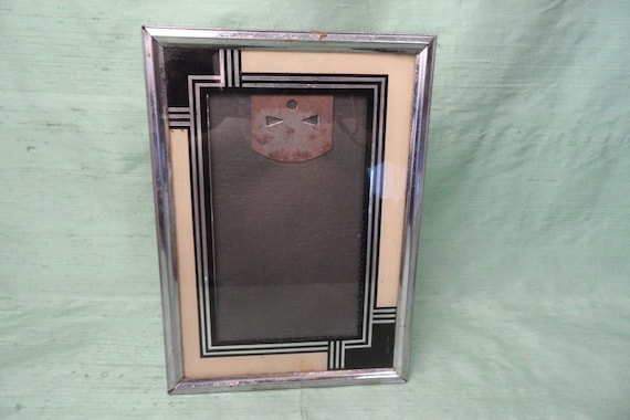 Art Deco Reverse Painted Glass Mat In Chrome Frame 5 X 7
