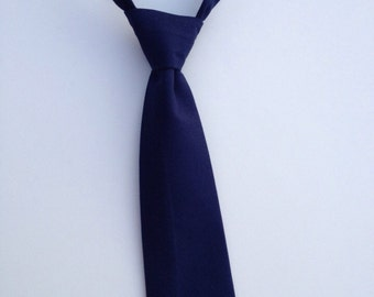Boys Neck Tie, Navy Blue Necktie, Infant Tie, Toddler Neck Tie