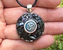Hematite stone Om pendant unisex jewelry handmade spiritual spirituality shanti yoga meditation magick zen new age hippie bohemian pagan