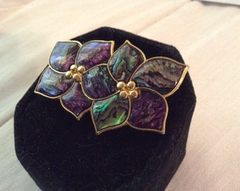 Gold toned multi colored brooch 2 inches wide