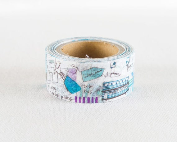 Blue and White Illustrated Washi Tape Jan Hsuan Travel