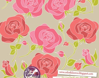 Hand drawn Roses Clip Art, Hand drawn flowers, Floral clipart, wedding flowers, rose clipart, roses clip art, rose floral clipart