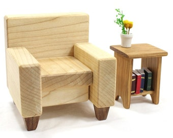 Miniature Leather Chair made from Wood