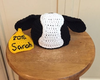 Crocheted Baby Cow Hat with tag