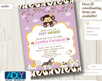 Personalized CoCaLo Jacana Jungle Girl Baby Shower Printable invitation with monkey, zebra, giraffe and hippo- ONLY digital file - you print