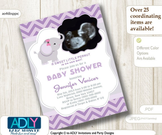 girl elephant ultrasound photo baby shower invitation for, Baby shower invitations