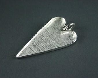 Elongated Heart Deep Pendant Tray Bezel Sterling Silver Plate for Mosaics Altered Art