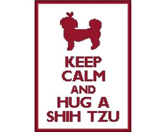 Keep Calm and Hug a Shih Tzu Cross Stitch Pattern