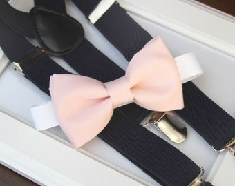Light Pink bow-tie & Navy elastic suspender set - Blush bow tie and navy suspenders