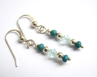 Small Turquoise Earrings / Dainty Beaded Dangle Earrings in Silver, Turquoise and Light Blue Jewelry