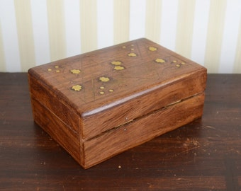 Vintage Box with Brass Inlay