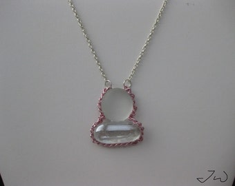 Clear Glass Chain Necklace with pink chain