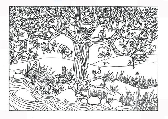 items similar to tree river nature scene coloring page coloring for adults on etsy. Black Bedroom Furniture Sets. Home Design Ideas