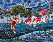 "KOI fish among Water Lily pads - FREE Shipping! - ORIGINAL - 16""x20""x.75"" Signed - Acrylic on canvas"