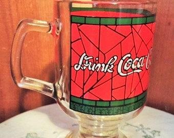 Coca Cola 1960's glass Christmas mug with pedestal bottom