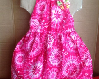 Summer dress, children dress,  beach time,Girls clothing. Girls dress size 6/7, Tie Dye  very cute hot pink