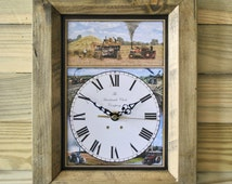 Vintage Steam Threshing Engine Wooden Wall Clock Handmade in England Antique Colour