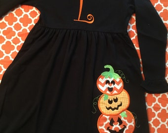 Stack of Jack-o-Lantern Pumpkins Halloween Dress with Monogram, Name or Initial