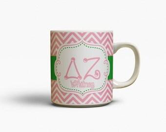 Delta Zeta merchandise , Monogram coffee mug, Pink chevron with green, D Z sorority, Big and little Bid day, Big little sorority (1098)