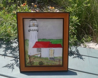 Light house painting, acrylic painting on canvas, framed