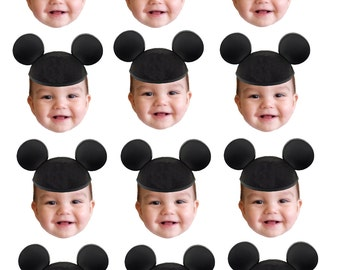 DIY digital Photo cupcake toppers mickey mouse hat inspired.