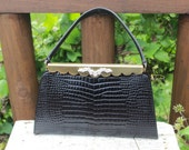 Vintage & Retro Handbags, Purses, Wallets, Bags Vintage Crown Lewis black faux reptile handbag purse with faux diamond rhinestones  gold accents MCM 1950s LEWIS handbag Hollywood regency $88.00 AT vintagedancer.com