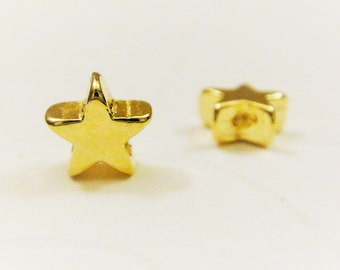 2 pc, Vermeil 18k gold over 925 sterling silver small star charms, gold star, vermeil stars