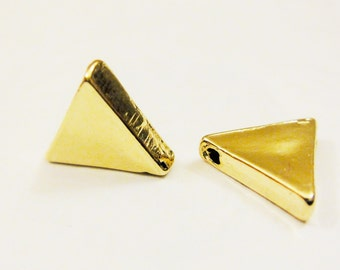 2 pc. Vermeil, 18k gold over 925 sterling silver triangle connector, shiny gold triangle, triangle  charm