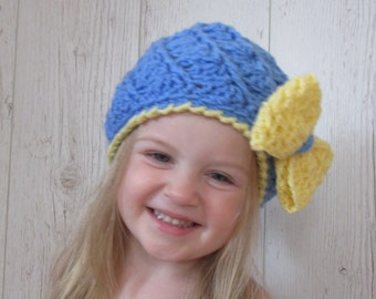 girls gifts, gifts for girls, baby girl gift, kids winter,Toddler Hat, Girls Hat, Baby Beanie, School Hat,  Crochet Hat, Blue Yellow