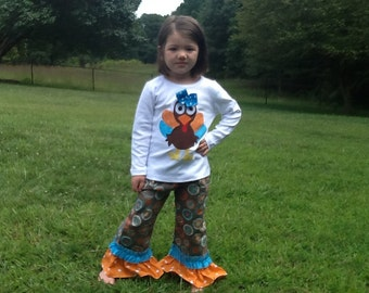 Funky Thanksgiving Fall Turkey Double Ruffle Pants and top 6 12 18 24 2 3 4 5 6 7 8