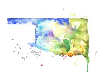 Oklahoma Map - Print of watercolor