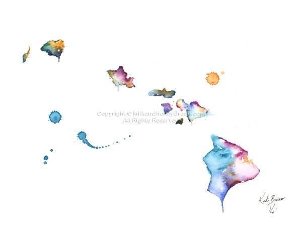 Hawaii Map Hawaiian Islands Watercolor Map Wall Art Print