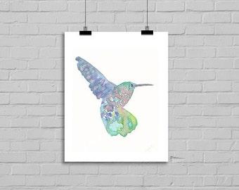 Hummingbird Green Pink Lilac Bird Illustration Art Watercolor Painting Print