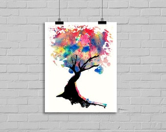 Rainbow Abstract Tree Watercolor Tree Colorful Tree of Life Painting Print Watercolor Painting Print Watercolour