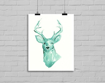 Mint Deer Watercolor Painting Print